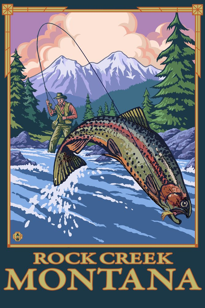 Rock Creek, Montana - Fly Fishing Scene (12x18 Art Print, Wall Decor Travel Poster)