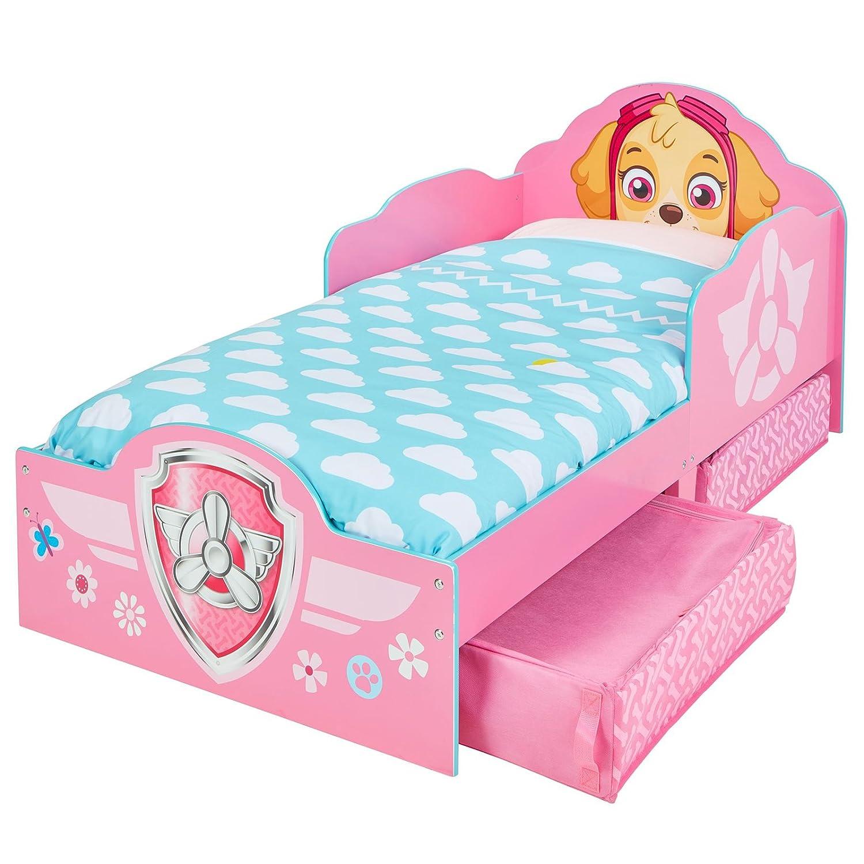 Kinderbett mit Schubladen Paw Patrol Rosa 140x70cm - Kleinkinderbett mit stabilem Rausfallschutz TW24