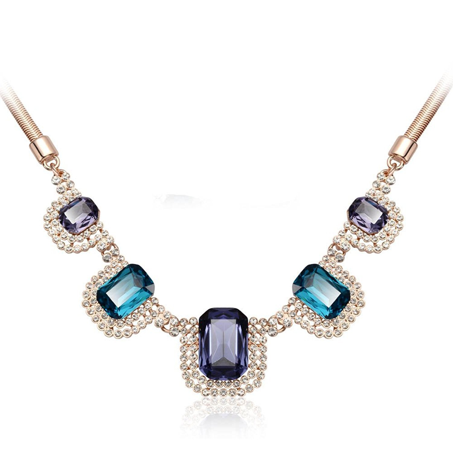 IUHA Gorgeous Made with Large Cubic Zirconia Eye-catching Necklace Party Prevent allergies For Women Gifts