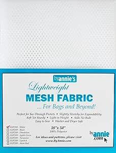 """Annie by Annie Mesh Fabric Lightweight 18""""x 54"""" White, PBA02034, White, 18"""" by 54"""""""