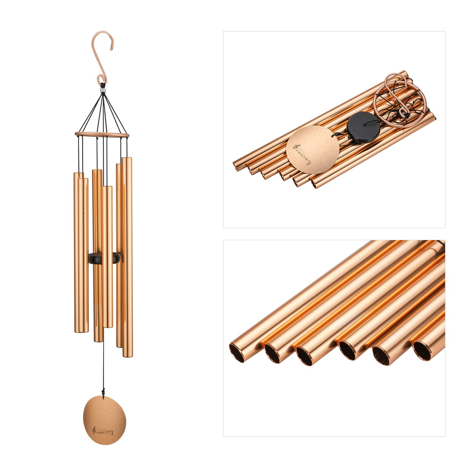 Metal Wind Chimes Outdoor , Large Garden Amazing Grace Windchime with 6 Aluminum Tubes , Tuned memorial Windchime for Patio and Terrace,Best Large Musical Windchime with S Hook for Indoor and Outdoor