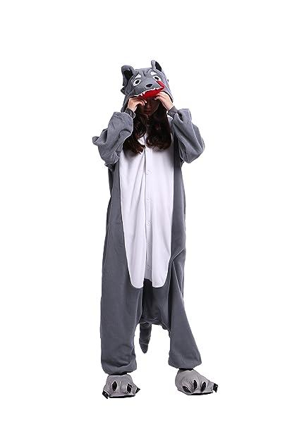 YUWELL Onesie Kigurumi Pijamas Unisex Cosplay Animales Traje Disfraz Pyjamas Halloween, Dibujos Animados Lobo Gris