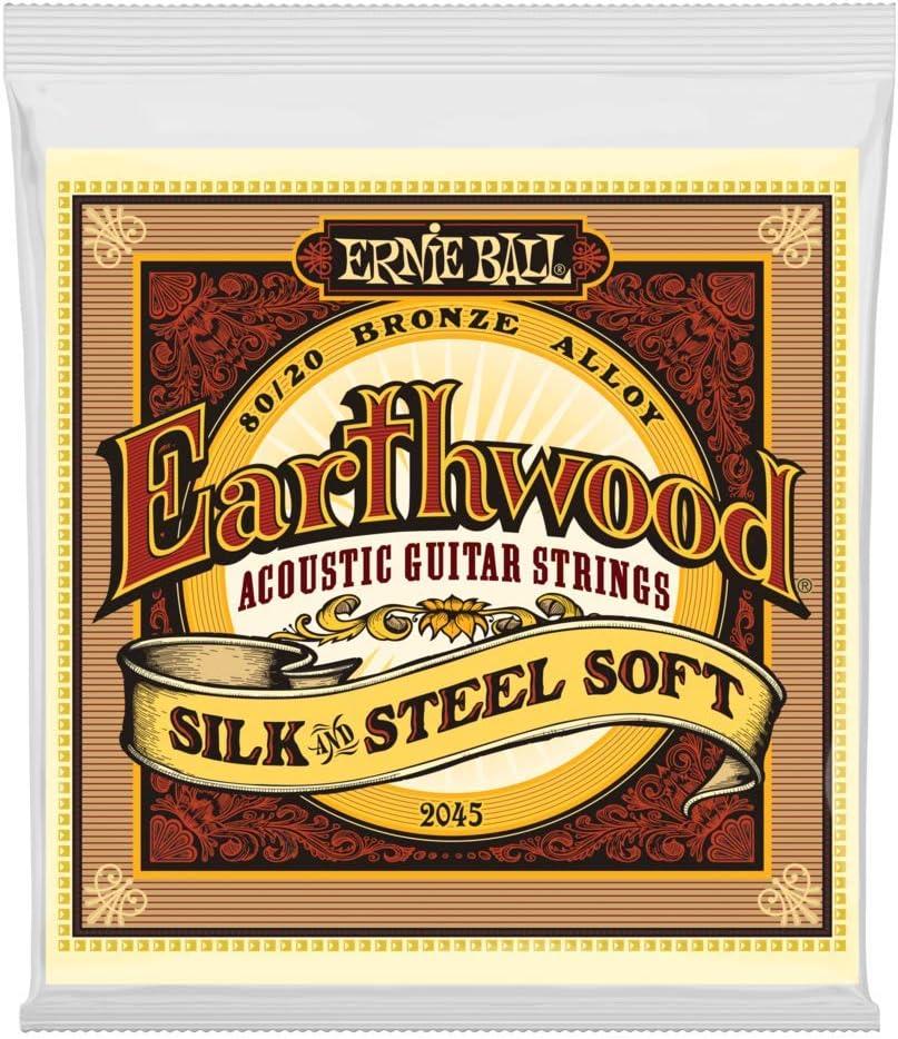 Ernie Ball Earthwood Silk & Steel Cuerdas de guitarra acústica de bronce 80/20 suaves - calibre 11-52