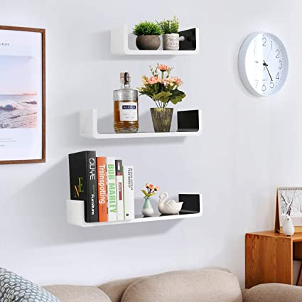 White and Black Wall Shelves,32inch Floating Wooden Wall Shelving Bookshelf  Storage Set of 3, U Shape Floating Shelves Wall Mount Bookcase for Living  ...