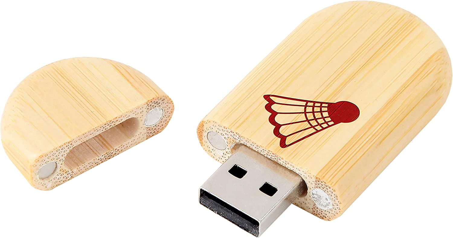 8Gb USB Gift for All Occasions Badminton Ball 8Gb Bamboo USB Flash Drive with Rounded Corners Wood Flash Drive with Laser Engraving