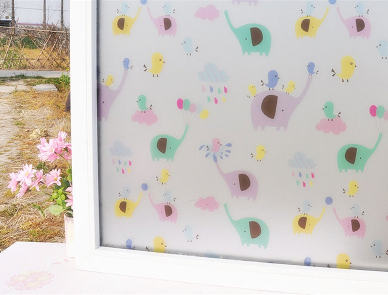 Amao Cute Elephant Frosted No Glue Static Cling Window Film Glass Privacy Film for Kids Room Bathroom 17.7 by 78.7 inches