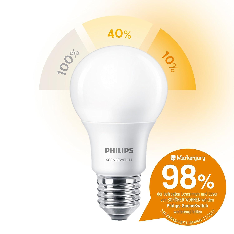 charming einfache dekoration und mobel sceneswitch von philips 2 #1: Philips 3-in-1 LED Lampe SceneSwitch ersetzt 60W, EEK A+, E27 (Matt):  Amazon.de: Beleuchtung