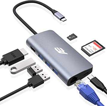 SD//TF Card Reader 8-in-1 USB C Hub Type C to HDMI Ethernet Adapter 2 USB 3.0