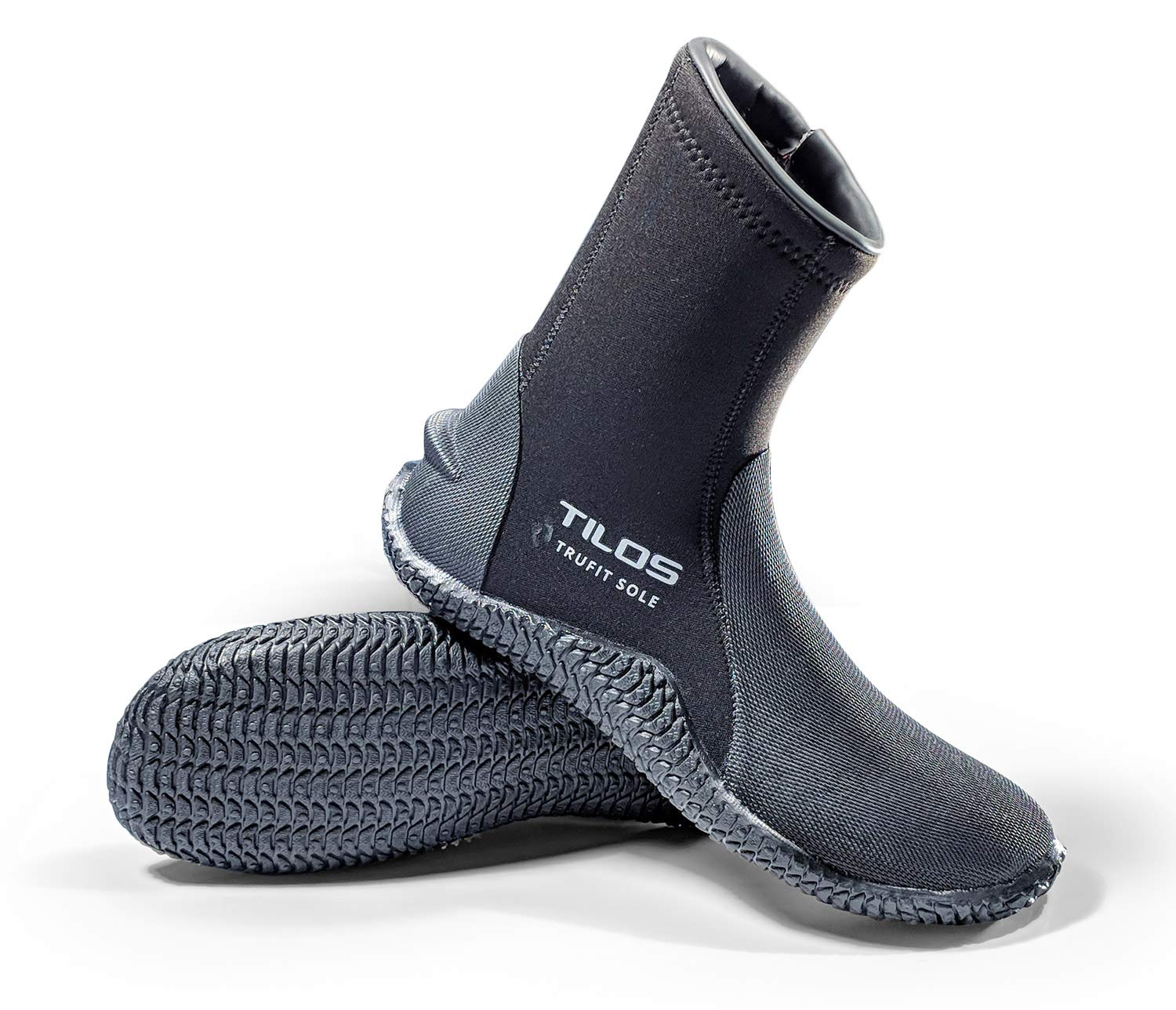 Tilos TruFit Dive Boots, First Truly Ergonomic Scuba Booties, Available in 3mm Short, 3mm Titanium, 5mm Titanium, 5mm Thermowall, 7mm Titanium (Men 9 / Women 10, 5mm Tall Thermoflare Boot) Black by Tilos