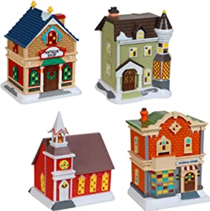 Christmas Village - Decoritive Mini Buildings (4 Pc) New 2020 Holiday Collection Set - Church General Store Antique Shop Classic Brick House - Christmas Village Accessories - Holiday Decor