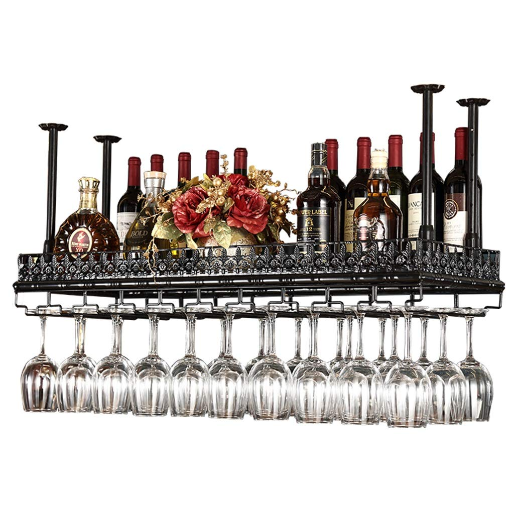 Zfusshop Wine Racks Hanging Wine Bottle Holder Metal Wine Glass Rack Goblet Stemware Racks Adjustable Height Kitchen, bar, restaurant (Color : Black, Size : 12035cm) by Zfusshop