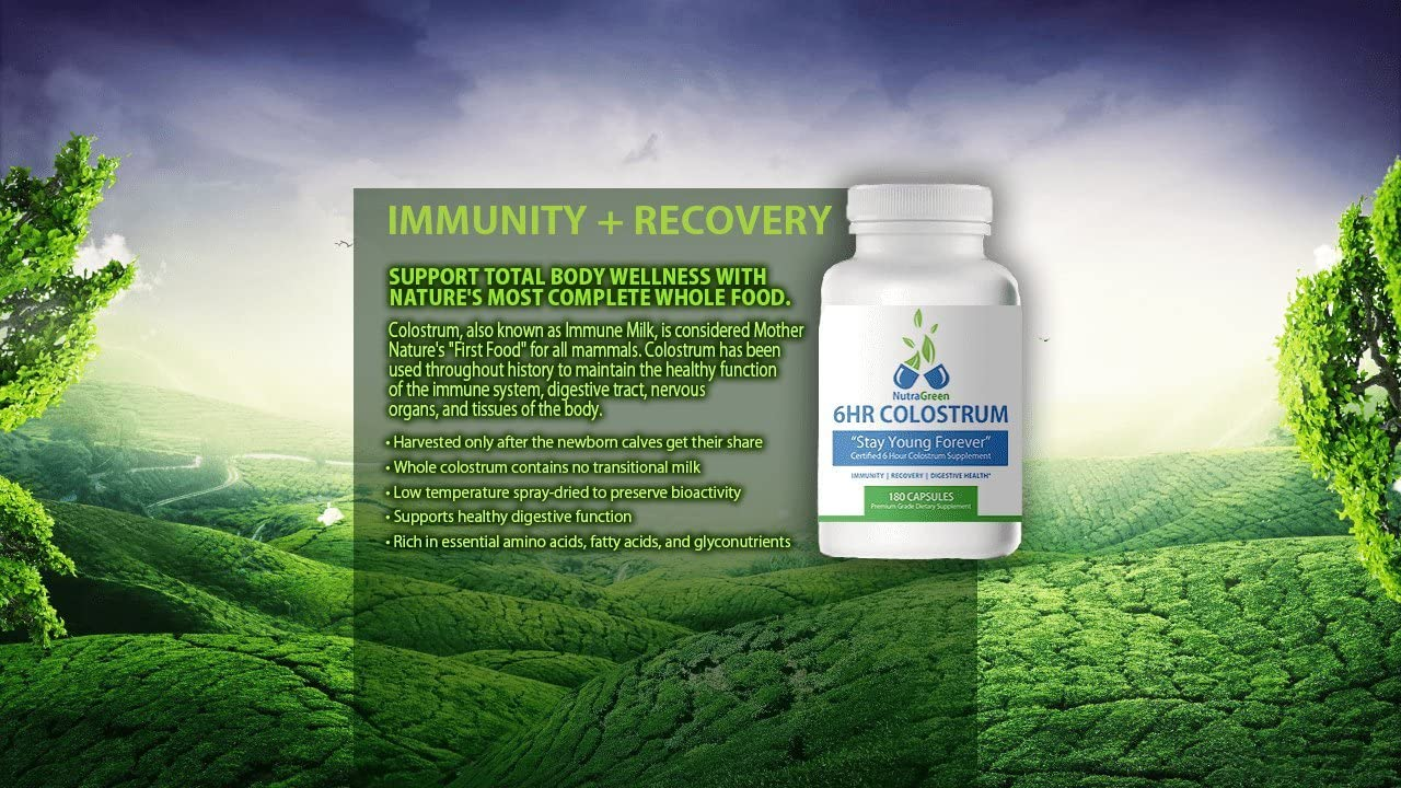 NutraGreen 6HR Colostrum - Capsules 180ct - 500 mg