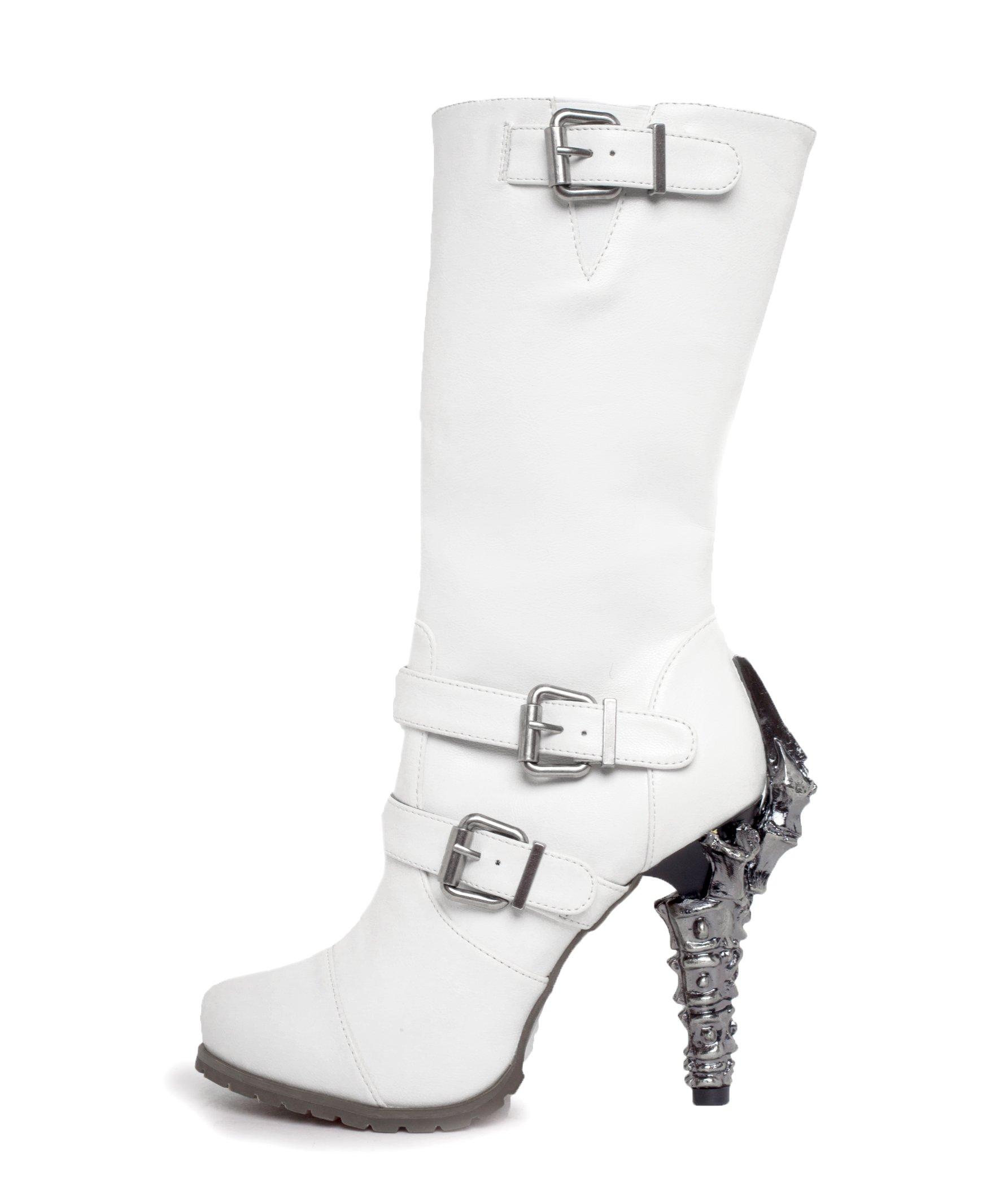 HADES Biker Knee High Boot Claw Heel Adjustable Ankle Top Strap Zip ARMA White-10