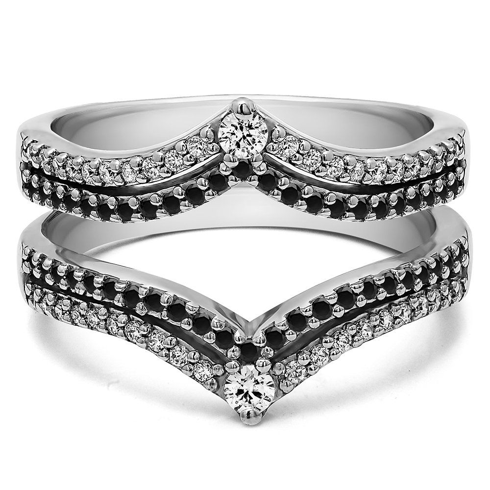 TwoBirch 1.52 ct. Black And White Cubic Zirconia Double Row Chevron Style Anniversary Ring Guard in Sterling Silver (1 1/2 ct. twt.)