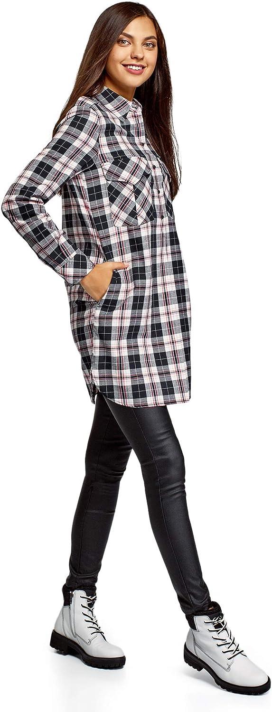 oodji Ultra Donna Abito Camicia con Tasche