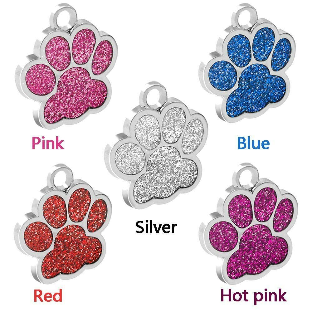 FidgetGear Glitter Paw Print Custom Pet ID Tags for Dogs and Cats Personalized Egraving Pink L:1.5''(3.8cm) Diameter