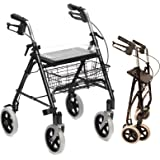 Folding Lightweight Rollator walking frame with locking brakes, seat, tray and cane holder