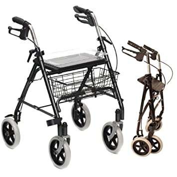 Folding Lightweight Rollator walking frame with locking brakes, seat ...