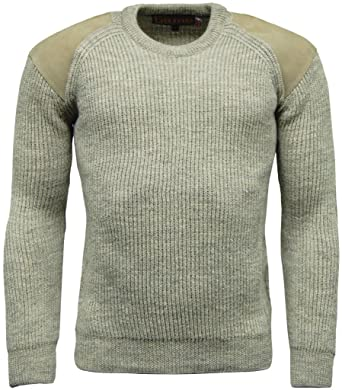 033a3876cee6d7 Game Men s Heavy Knit 100% British Wool Country Shooting Hunting Jumper  Sweater Olive Brown Natural  Amazon.co.uk  Clothing