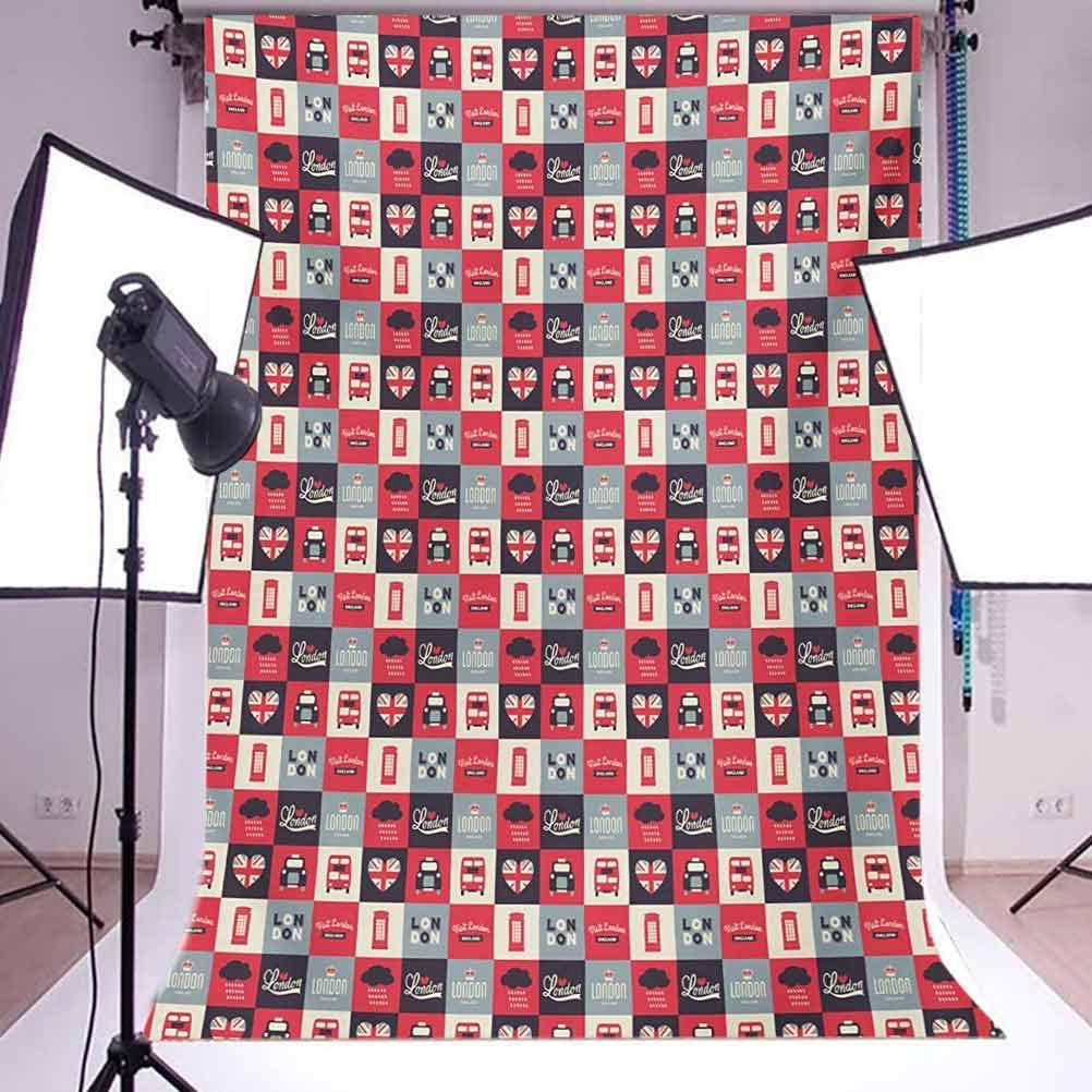 London 10x12 FT Photography Backdrop Retro Traditional London Icons in Squares United Kingdom Europe Travel Vacation Background for Baby Birthday Party Wedding Vinyl Studio Props Photography