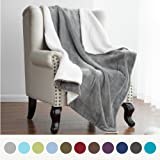 Sherpa Throw Blanket Lt Grey 60x80 Reversible Fuzzy Microfiber All Season Blanket for Bed or Couch by Bedsure