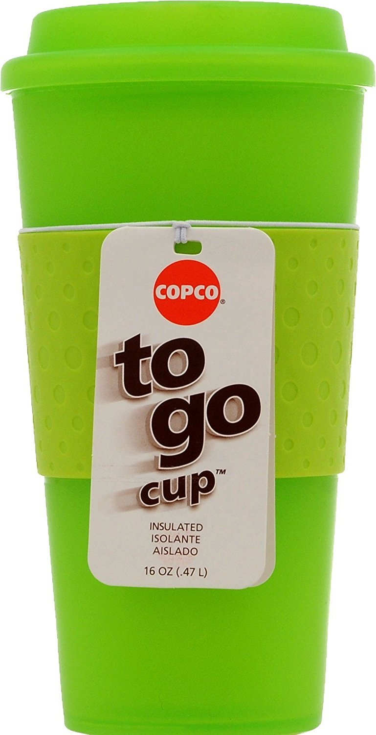 Copco 2510-0412 Acadia Double Wall Insulated Travel Mug with Non-Slip Sleeve, 16-Ounce, Translucent Lime