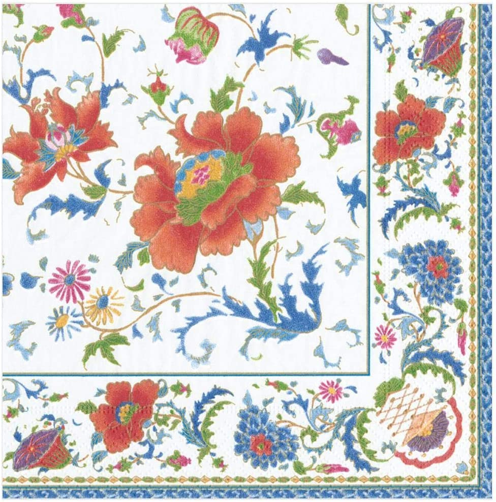 Colore: Bianco Caspari Chinese Paper Dinner Napkins in White 20 Pezzi Package Tovaglioli di Carta Cinese in Ceramica