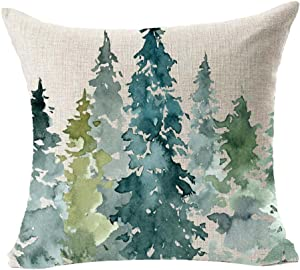 "LYN Cotton Linen Square Throw Pillow Case Decorative Cushion Cover Pillowcase for Sofa 18""X 18"" Lyn-82 (74)"