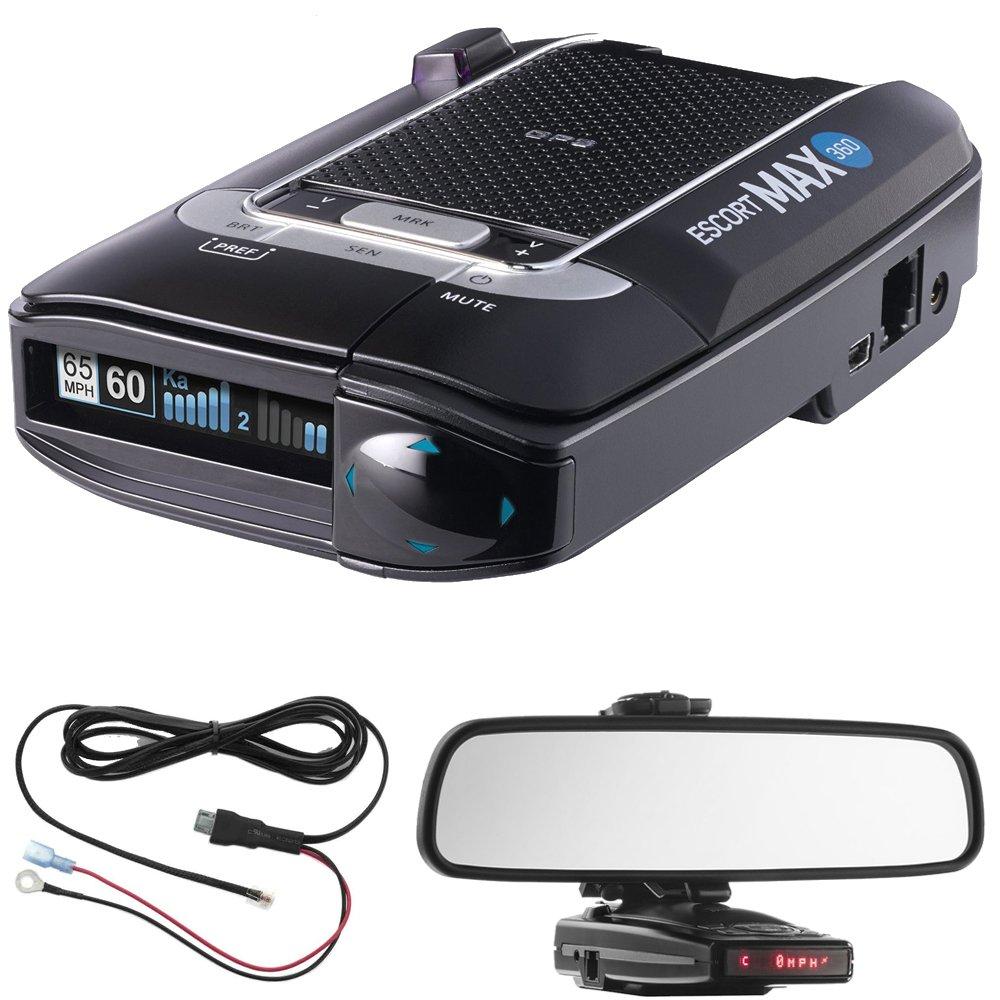 Escort Max 360 Radar Detector Power Bundle Includes, Car Mirror Mount Bracket For Radar Detectors + Radar Detector Direct Wire Power Cord