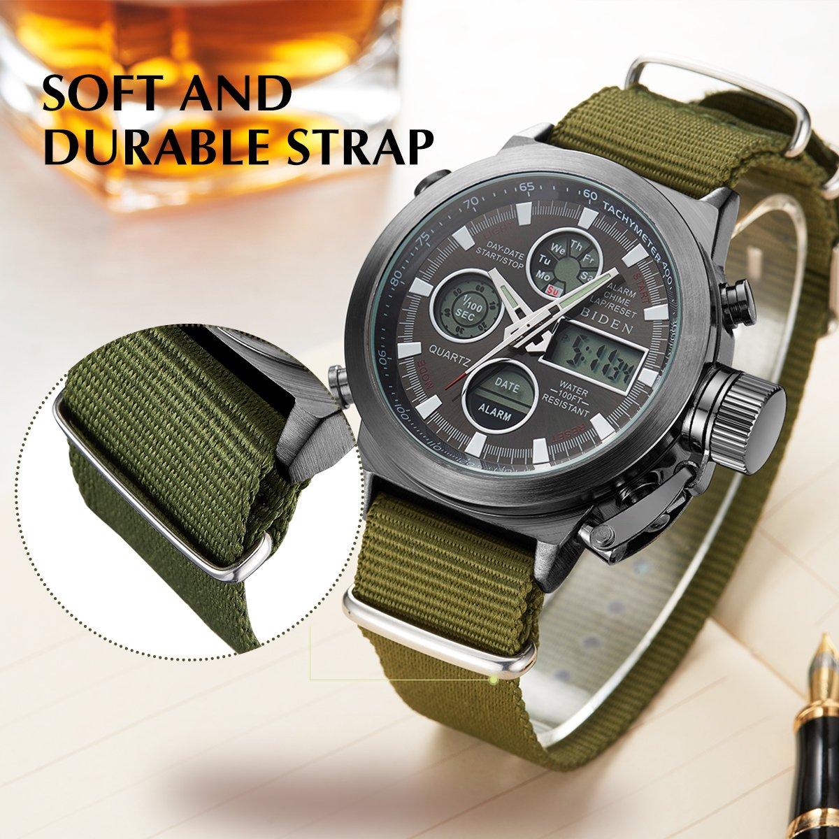 BIDEN Watch, Watch Men Digital Analog Sport Waterproof Watch,Multifunction LED Date Alarm Leather Wrist Watch (GreenBlack) by BIDEN (Image #5)