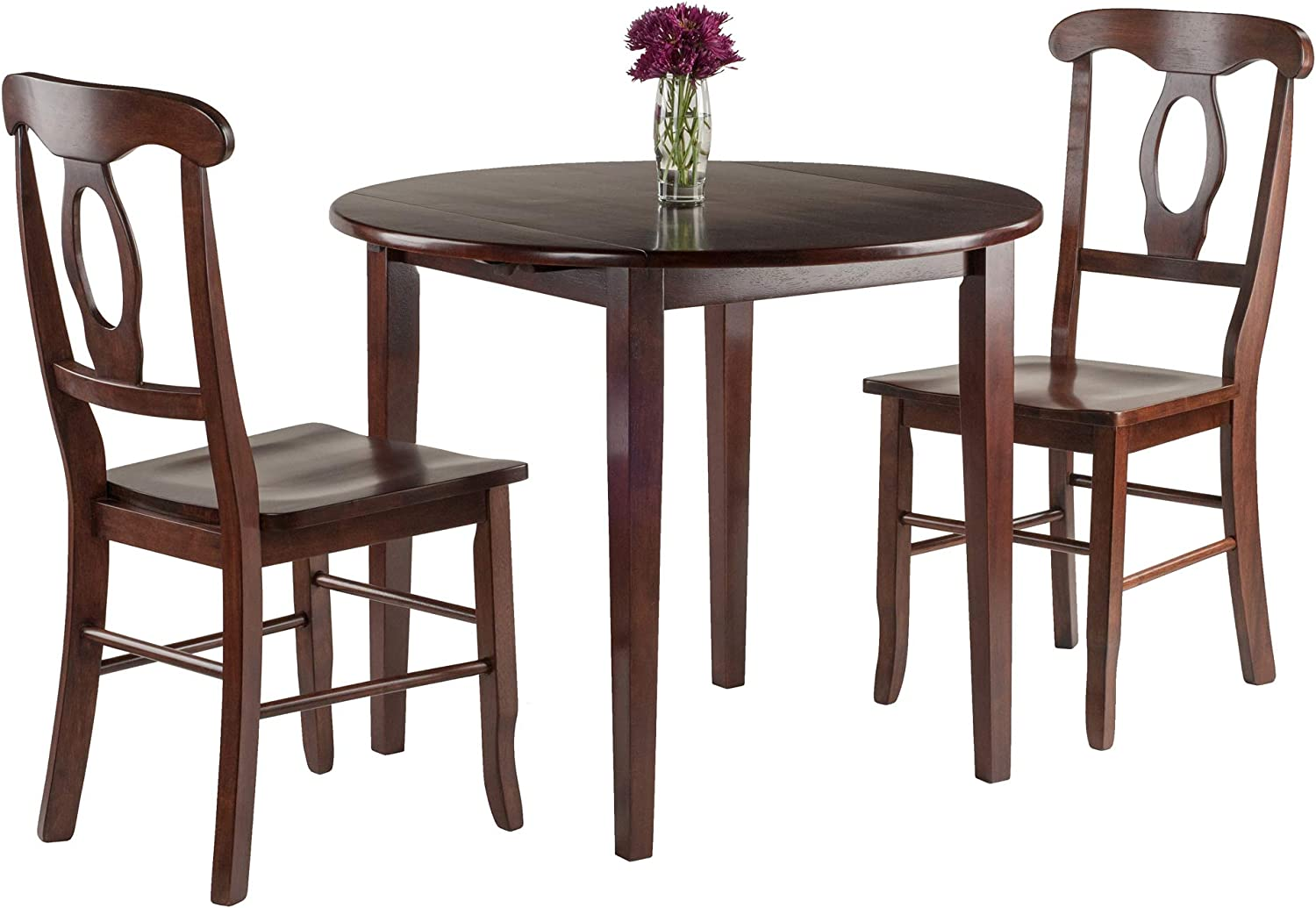 Amazon Com Winsome Clayton 3 Pc Set Drop Leaf Table With 2 Keyhole Back Chairs Dining Walnut Table Chair Sets
