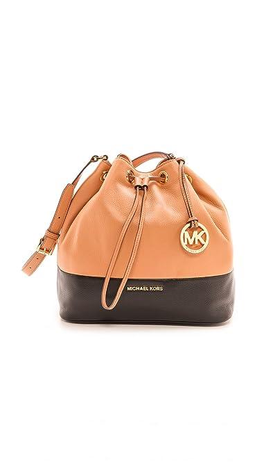 11423ca2da85 MICHAEL Michael Kors Women's Jules Large Drawstring Bucket Bag, Sun Tan/ Black, One Size: Handbags: Amazon.com