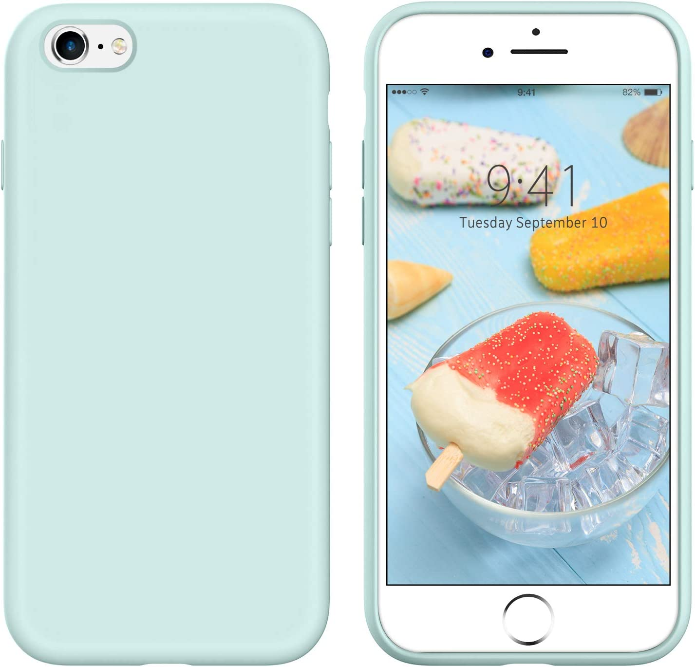 iPhone 6s Plus Case iPhone 6 Plus Case Liquid Silicone, GUAGUA Soft Gel Rubber Slim Lightweight Microfiber Lining Cushion Texture Shockproof Protective Phone Cases for iPhone 6 Plus/6s Plus Light Blue