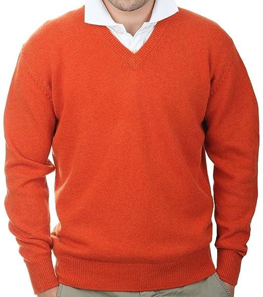 Balldiri 100% Cashmere Kaschmir Herren Pullover V-Ausschnitt 4-Fädig Dunkel  Orange XXXXL 796b2ad29e