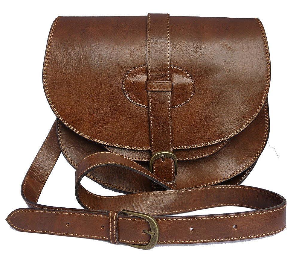 Genuine Leather Saddle Style Handbag shoulder bag in Brown  Amazon.co.uk   Shoes   Bags 131216aa730ee