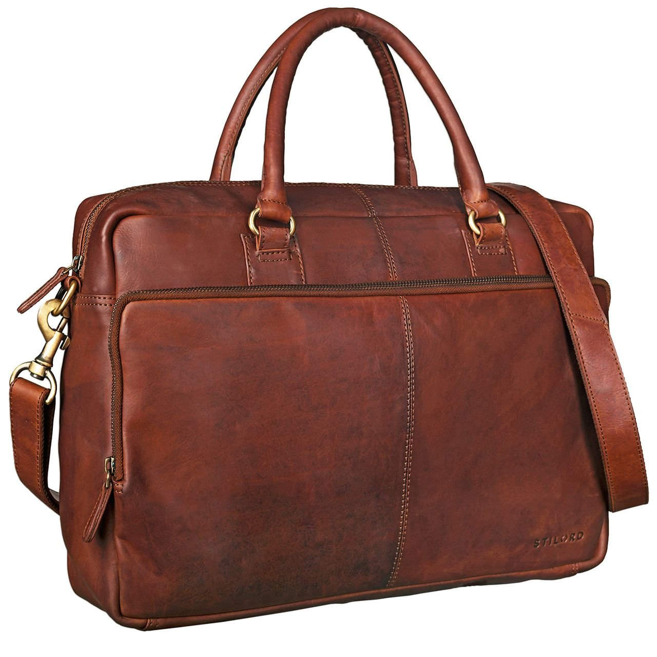 STILORD 'Aaron' Sac d'affaires Unisexe Cuir Cartable Serviette Sac en bandoulière Sac à Main Ordinateur Portable 15,6 Pouces en Cuir, Couleur:Antique - Marron