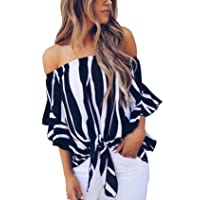 Women's Striped Off The Shoulder Tops 3/4 Bell Sleeve Tie Knot Casual Blouse Shirts