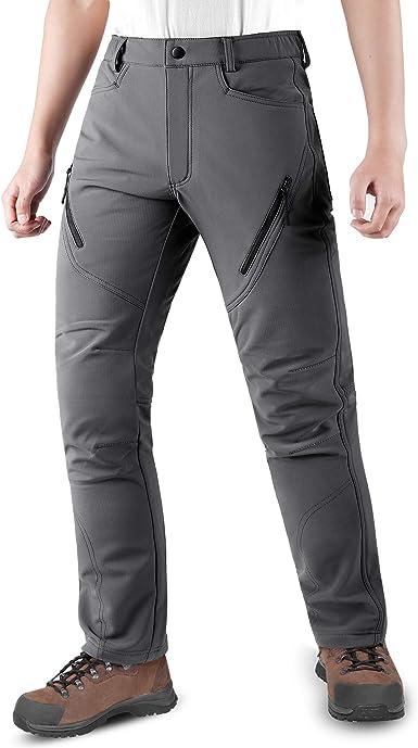 KUTOOK Pantalones Trekking Hombre Softshell Impermeables y A Prueba de Viento Transpirables Cálidos Pantalones Invierno con Forro Polar para Montaña ...