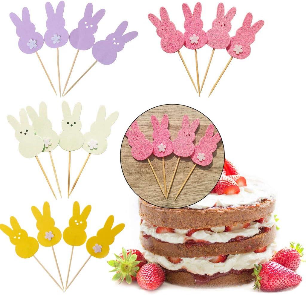 Yinuneronsty 4pcs G/âteau Cupcake Toppers Lapin Anniversaire Douche D/écoration De F/ête De P/âques