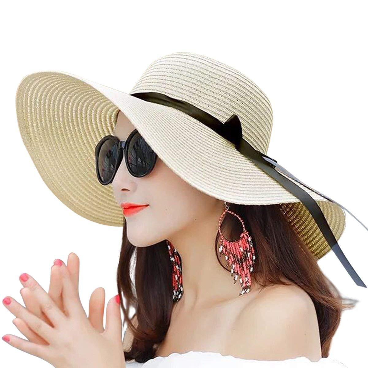 CDM product Women Summer Big Brim Beach Hat Floppy Foldable Bowknot Straw Sun Hat big image