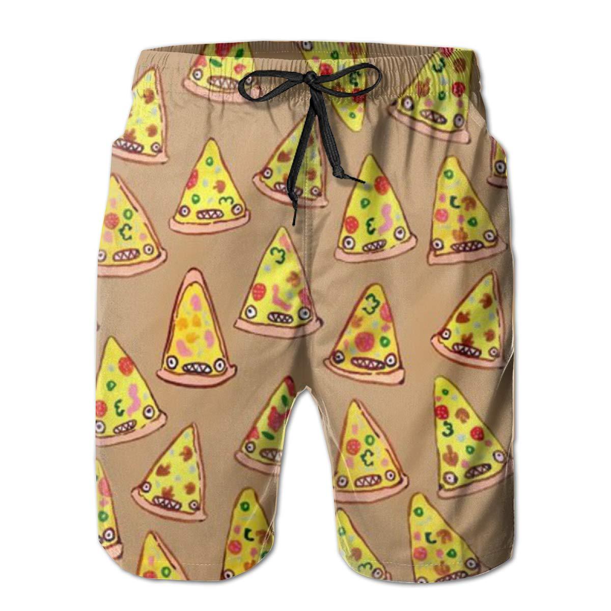 WMDJEG Ham and Pineapple Pizza Mens Summer Beachwear Sports Running Swim Board Shorts Mesh Lining