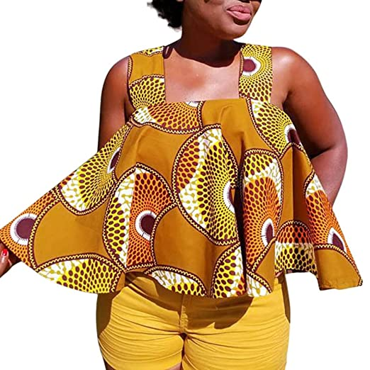 26a389898d7 Landfox Women African Print Tee Shirt Sleeveless Tops Strapless Blouse T  Shirt Plus Size