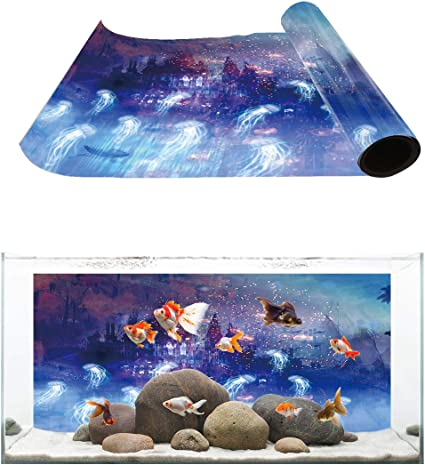 FidgetKute Aquarium Background 72x 24 2 Sided Coral Reel and Tropical Plants Show One Size