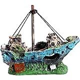 UEETEK Corsair Ship per Decorazione dell'acquario, Sunken Nave per barche a vela per pesce Serbatoio Acquario Decorazione,Ideale per piccoli pesci gambero Cichild Tartaruga