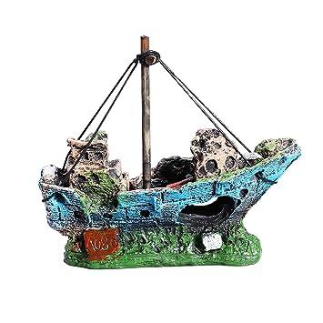 UEETEK Barco Acuario, barco Corsair Barco a vela hundido para decoración de acuarios, ideal para pequeños peces camarón tortuga