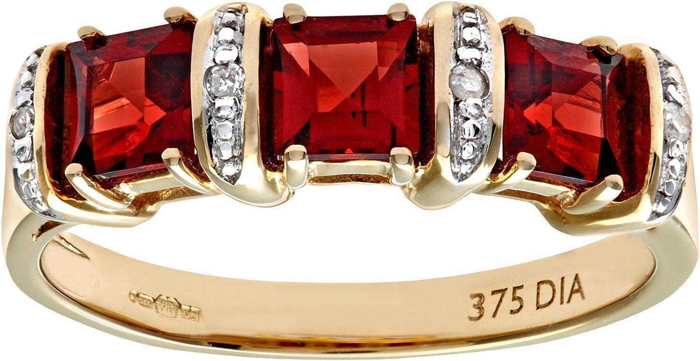 Naava Anillo para Mujer de Oro con Granates y Diamantes