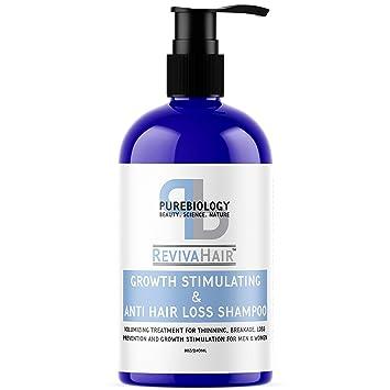 Pure Biology Hair Growth Stimulating Shampoo with Biotin, Keratin, Natural DHT Blockers, Vitamins B + E & Breakthrough Anti Hair Loss Complex for ...