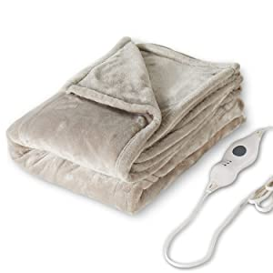 "Tefici Electric Heated Blanket Throw with 3 Heating Levels & 4 Hours Auto Off,Super Cozy Soft Heated Sherpa Throw with Fast Heating and Machine Washable,Home Office Use,50"" x 60"" Beige"