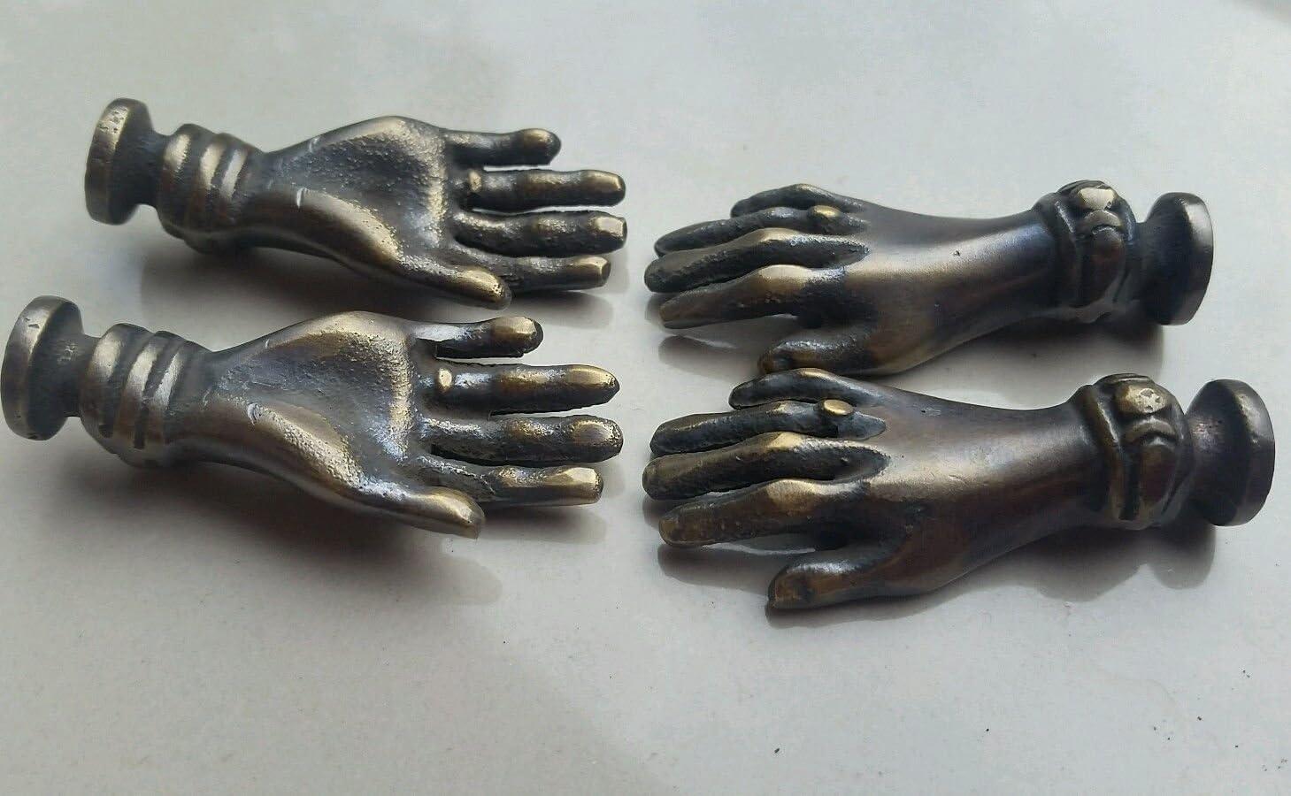 "Set 4 BRASS ANTIQUE Vtg LADIES dainty HANDS Cabinet Drawer Knob Pull 2/"" #K12"