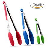 "Hotec Premium Stainless Steel Kitchen Tongs Set of 3 - 7"", 9"" and 12"", Locking Colorful Silicon Tongs for Cooking (Red, Green and Blue)"